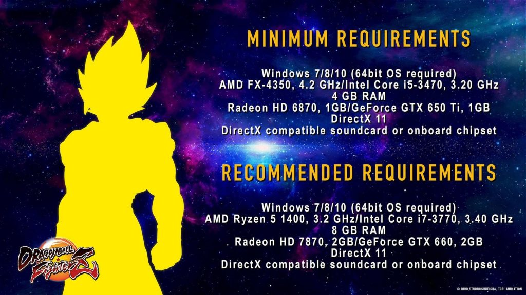 Configuration minimale et recommandée sur PC pour Dragon Ball FighterZ