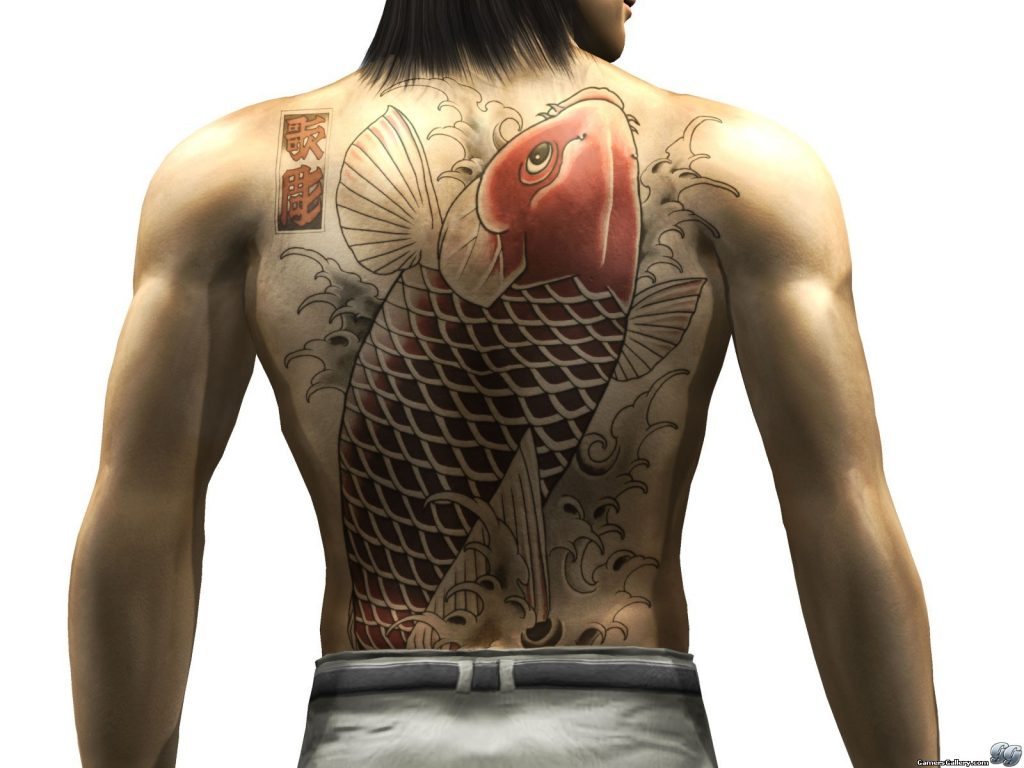 Le tatoutage de Nishikiyama Akira : le Koi traversant la rivière dorée. Un signe de force et bravoure.