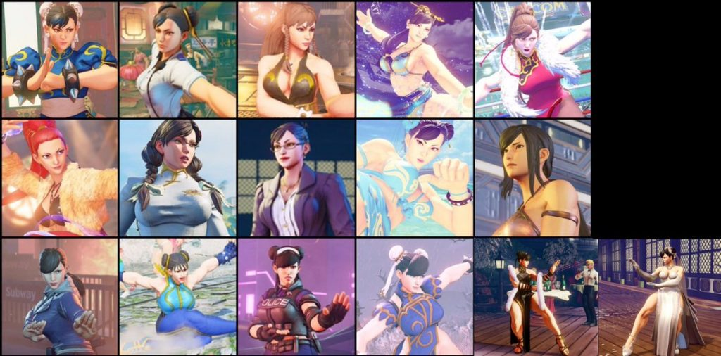 Collection des costumes pour Chun-Li dans Street Fighter V