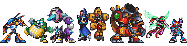 Les Mavericks dans MMXC (de gauche à droite) : Hurricaine Hoatzin, Plasma Puffer, Sparking Scorpio, Warp Vulpex, Force Starfish, Warfare Milodon, Neurohack Mosquito et Crystal Rafflar.